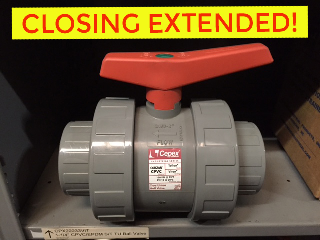 ENDED – Online Only: Industrial PVC Pipe, Valve & Fitting Auction – CLOSING EXTENDED!