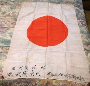 2 Japanese WWII Silk Hinomaru Flag