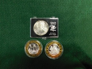 C - Walking Liberty Silver Dollar and Silver Casino Tokens