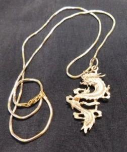 J - 18K Gold Dragon Necklace