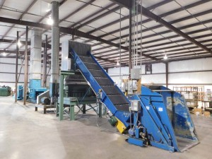 Full Maren Inline Shredding and Sorting System including Top Feed Grinder, Incline Feed Conveyor, Material Unloader, Cyclone Dust System and Blowers, Pressure Pump, and Baler