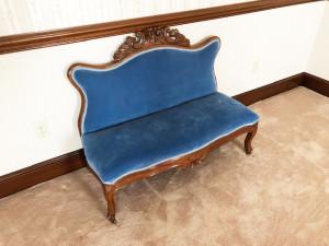 1 of 2 Carved Rose-Back Dressing Bench with Blue Velvet upholstery
